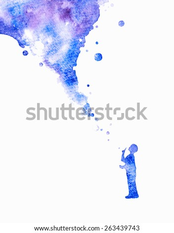 Watercolor background. Colorful abstract texture.Dreaming boy. Watercolor creative concept. Concept - creative person. Creative artist. Imagine. Bubble background. - stock photo