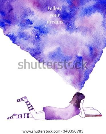 Watercolor background. Colorful abstract texture.Dreaming girl. Watercolor creative concept. Concept - creative person. Creative artist. Imagine. Follow your dreams - stock photo