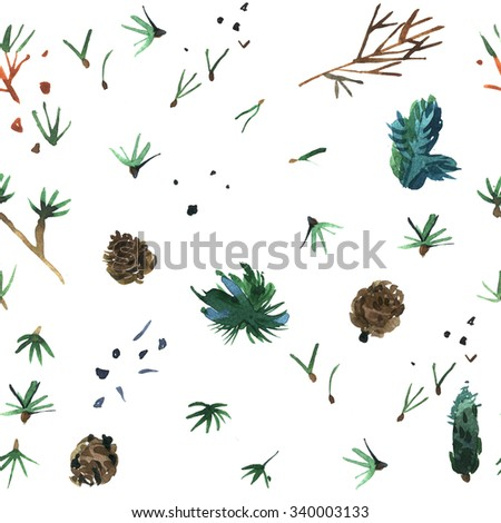 Watercolor background is a Christmas theme. Texture of pine . Watercolor floral illustration. Elegance Seamless pattern with flowers. Fashion illustration texture in vintage style. - stock photo