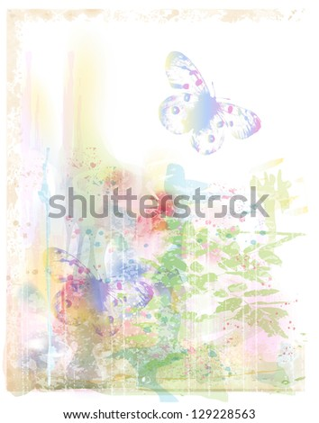 watercolor background with butterflies - stock photo