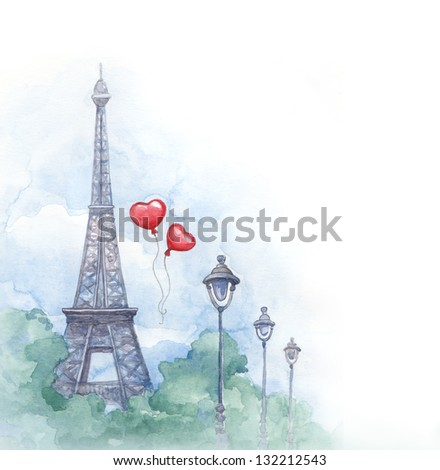 Watercolor background with illustration of eiffel tower - stock photo