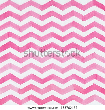 Watercolor background with pink zigzag stripes - stock photo