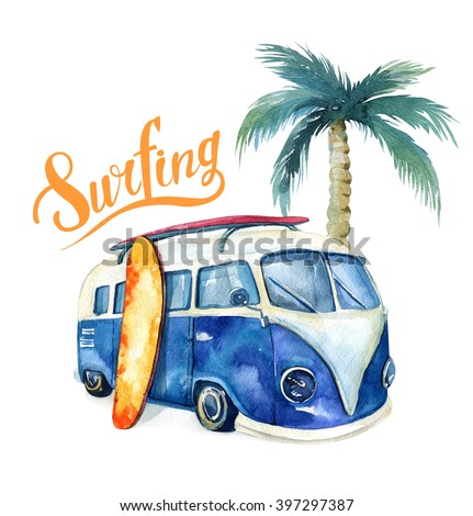 Watercolor beach, adventure,, bike, motorollier, tree. Watercolour  fun holiday activity, tropical travel illustration. Island summer , retro car, surfboard. - stock photo