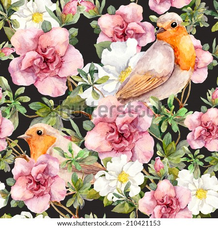 Watercolor birds and watercolor flowers . Seamless floral pattern. - stock photo