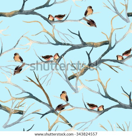 Watercolor birds on the tree branches. Flock of birds in winter. Hand painted seamless pattern - stock photo