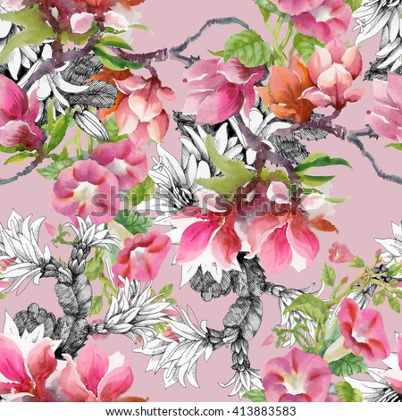 Watercolor blooming  Bind Weed buds and magnolia flowers seamless pattern on pink background - stock photo