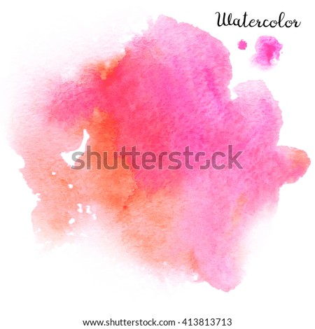 Watercolor blot isolated on white background. Pink and orange watercolor blot for your design. - stock photo