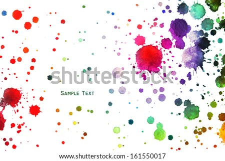 Watercolor blot spray paint art rainbow isolated on a white background - stock photo