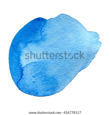 Watercolor blue Background isolated on white hand drawn - stock photo