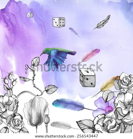 Watercolor blue background with ornament of flowers: roses, rose, poppies with flying feathers, dice, hummingbirds. - stock photo