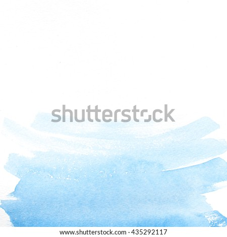 Watercolor blue brush strokes background design isolated on paper texture. Copy space - stock photo
