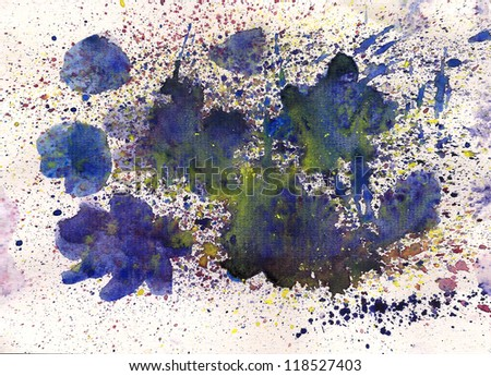 Watercolor blue flower with splash effects for your further design - stock photo