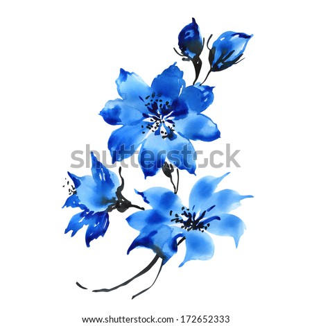 Watercolor blue flowers - stock photo