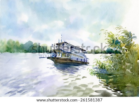Watercolor Boat on river water - stock photo