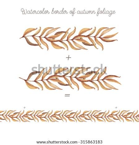 Watercolor border of autumn foliage. Design elements with autumn leaves. Autumn decor. - stock photo