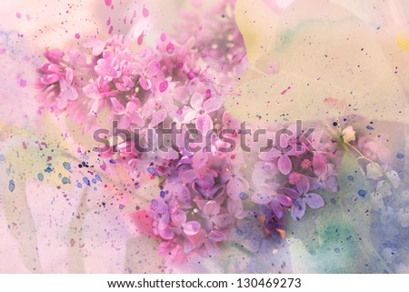 Watercolor branch of lilac - stock photo