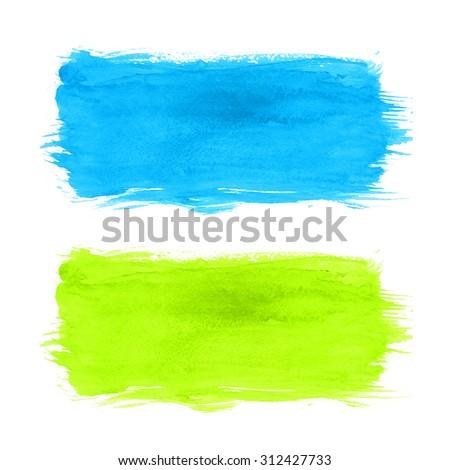 Watercolor brush strokes - stock photo