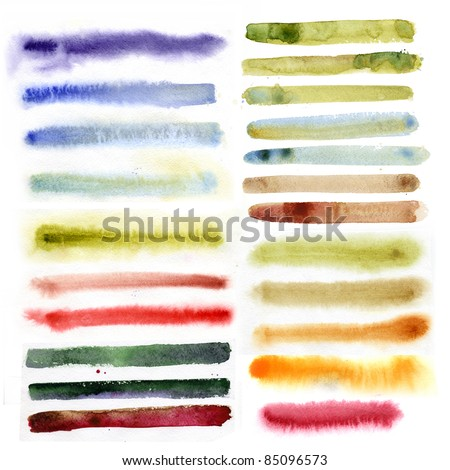 watercolor brush strokes - stock photo