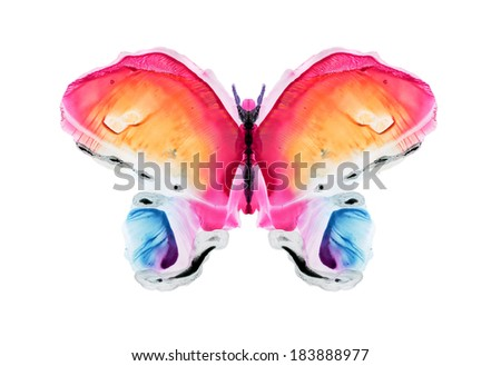watercolor butterfly- Abstract watercolor pattern, my own artwork. - stock photo
