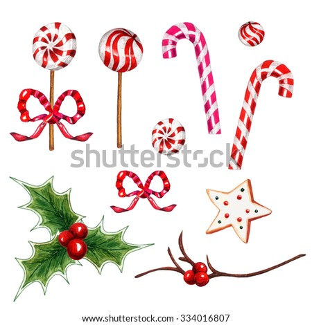 Watercolor Candy cane, Peppermint candy, Gingerbread star, Bow, Holly twig, leaf & berry set on white background. Christmas elements for your design. Sweet collection. - stock photo