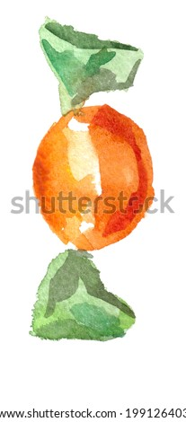 Watercolor Candy in a wrapper - stock photo