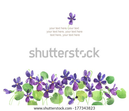 Watercolor card with violet flowers - stock photo
