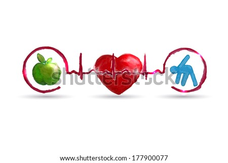 Watercolor Cardiology health care symbols connected with heart beat rhythm. Healthy living concept. Healthy food and fitness leads to healthy heart and life.  - stock photo