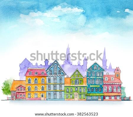 Watercolor cartoon buildings. Little carton town. - stock photo