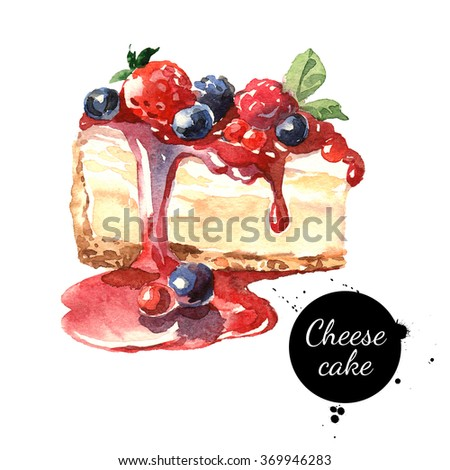 Watercolor cheesecake dessert. Isolated food illustration on white background - stock photo