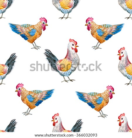 watercolor chicken and rooster, watercolor cute baby illustration,  Easter,  simple seamless pattern - stock photo