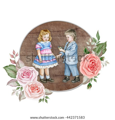 Watercolor children in vintage style on wooden background with delicate rose bouquets. Boy with bird and little red-haired girl. - stock photo