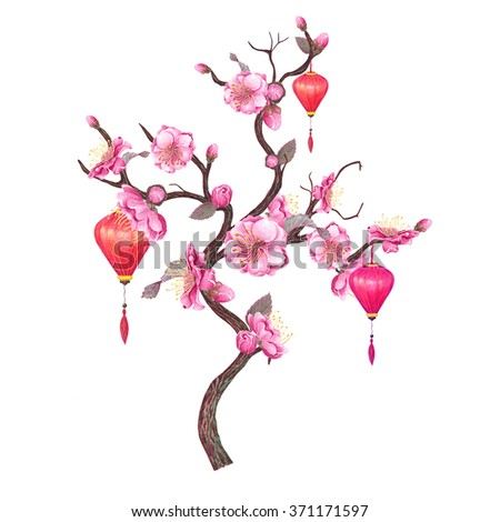 Watercolor Chinese Red Lantern & Plum, Peach blossom, isolated on white background. Chinese New Year Symbol. Sign of luck, harmony & prosperity. Poster & textile design. Hand drawn illustration. - stock photo