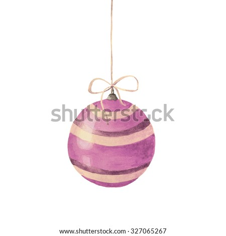 Watercolor Christmas ball on white background. Christmas decoration. Watercolor Hand Painted illustration. - stock photo