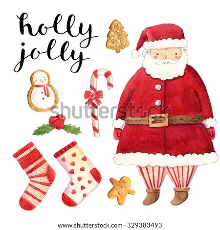 Watercolor christmas cute illustrations collection. Christmas set for scrapbook and design. - stock photo
