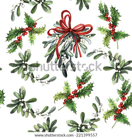 Watercolor Christmas decorative pattern. Christmas decor. Ideal for design Christmas gifts and scrapbooking.and painting. Seamless pattern for fabric, paper and other printing and web projects. - stock photo