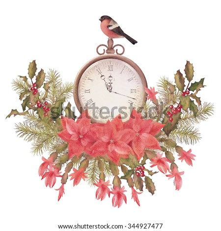 Watercolor Christmas greeting card. Holiday Composition of the Christmas decorations, clock and bird bullfinch in vintage colors - stock photo