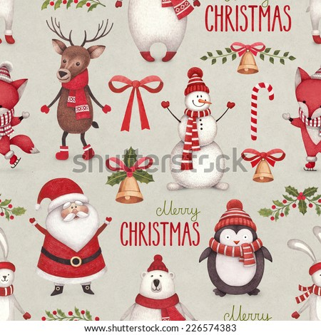 Watercolor christmas illustrations. Seamless pattern - stock photo
