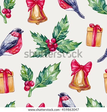 Watercolor christmas seamless pattern. Hand drawn watercolor christmas bell, gift boxes, holly, bullfinch. Watercolor pattern for textile, christmas wrap. - stock photo