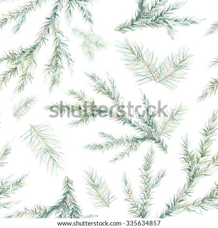 Watercolor Christmas tree branches seamless pattern. Hand painted texture with fir-needle natural elements isolated on white background. Winter wallpaper - stock photo