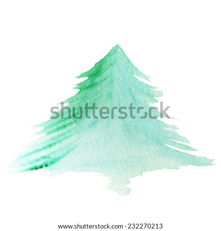 Watercolor Christmas tree isolated on white background  - stock photo