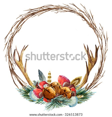 watercolor Christmas wreath, fir branch, ribbon, Christmas bells, round wreath of branches, deer antlers - stock photo