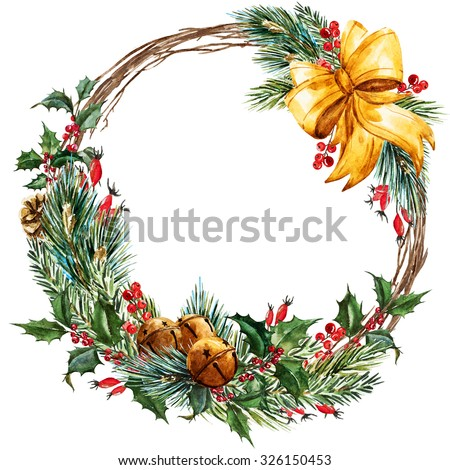 watercolor Christmas wreath, fir, branches of Christmas trees, Christmas bells, ribbon, beautiful round frame - stock photo