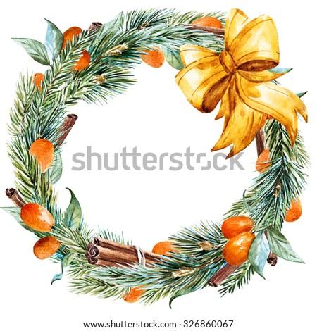 watercolor Christmas wreath with fir tree, kumquat, cinnamon, golden bow, ribbon, round frame, holiday Christmas - stock photo