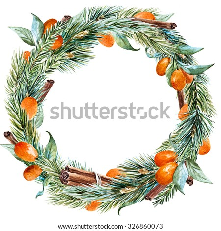 watercolor Christmas wreath with fir tree, oranges, cinnamon, round frame, holiday Christmas - stock photo