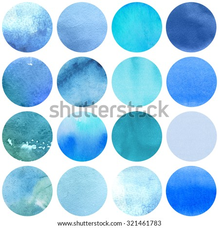 Watercolor circles collection  blue colors. Watercolor stains set isolated on white background. Watercolour palette. Seamless retro geometric pattern, wrapping paper. - stock photo