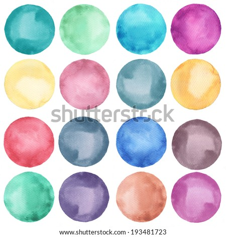 Watercolor circles collection  in pastel colors. Watercolor stains set isolated on white background. Watercolor palette. - stock photo