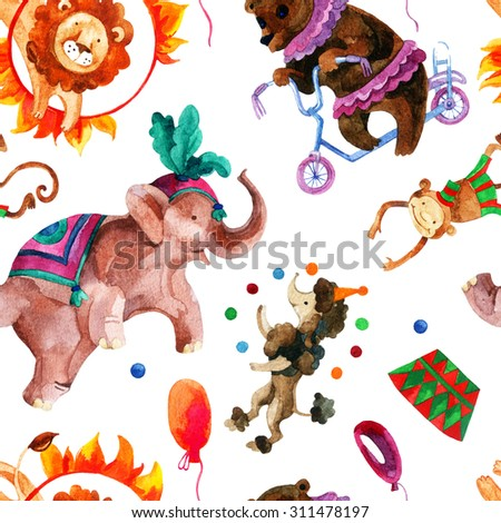 Watercolor circus seamless pattern. Cartoon elephant, monkey, lion, bear and dog. Hand painted illustration - stock photo