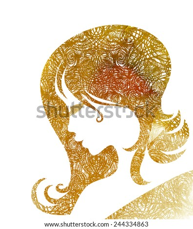 """Watercolor close-up sketch hair styling for woman (from my big """"Hair styling series"""") - stock photo"""