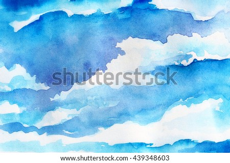 watercolor clouds - stock photo
