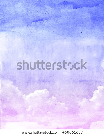 Watercolor clouds and sky background - stock photo